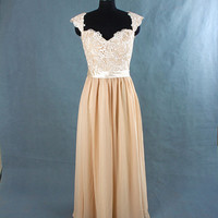 Champagne Long Lace Bridesmaid Dress Chiffon Dress With cap sleeves and open back prom dress