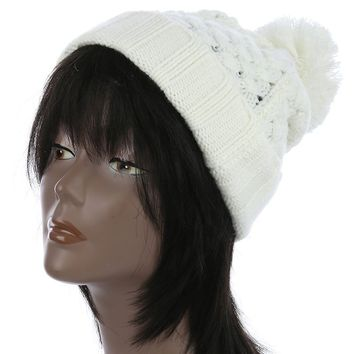 White Pom Pom Cable Knit Winter Beanie Hat And Cap