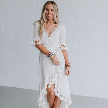 La Vie Tassel Maxi Dress - White