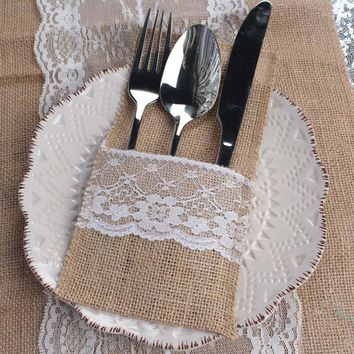 10pcs Rustic Vintage Burlap Tableware Holder + 10 pcs Gift Bags Wedding Decor