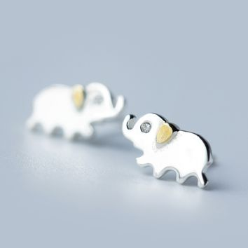 Cute small elephant 925 Sterling Silver earrings, a perfect gift