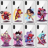 Cartoon Harley quinn Batman Catwoman Superman Cover for iPhone 5 5s SE 6 6s 7Plus X XR XS MAX Deadpool Clear Hard plastic Case