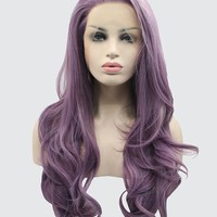 Dark Reddish Purple Wave Synthetic Lace Front Wig