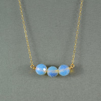 Beautiful Moonstone Opal Beaded Necklace, Wired Beads, 14K Gold Filled Chain, Wonderful Jewelry