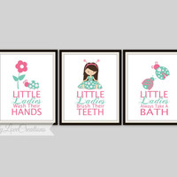 "Ladybug Bathroom Prints - Set of 3 Prints  ""Little Ladies Wash their Hands"" Bathroom Decor, Little ladybugs bathroom rules,bathroom prints"