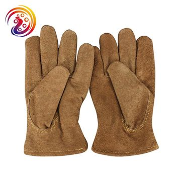 OLSON DEEPAK Cow Split Leather Warm Gloves Factory Driving Gardening Carrying Work Gloves HY015 Free Shipping