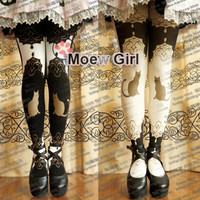Kawaii Womens Harajuku Palace Cat Lolita Tights Pantyhose Cute Rubber Print 120D