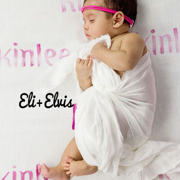 PINK Hand Stamped Personalized Swaddle Blanket - Baby Girl Swaddle Blanket - Baby Name Handstamped lightweight muslin blanket