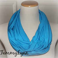 Turquoise Aqua Blue Solid Infinity Scarf Jersey Rayon Spandex Knit Scarf Women's Accessories
