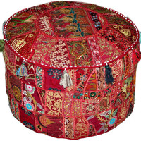 Eclectic Bohemian Style Maroon/Red Ottoman Pouf Chic Interior Decor Footstool floor pillow Indian Ottoman Pouf pouffe pouffes Patchwork Seat