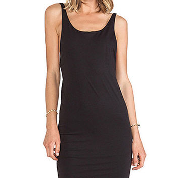 Black Sleeveles Bow Back Bodycon Dress