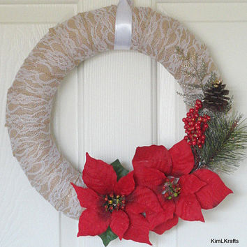 Burlap Wreath, Christmas Wreath, Winter Wreath, Lace Burlap Wreath, Wreath, Door Decor, Home Decor, Lace Wreath, Floral Wreath