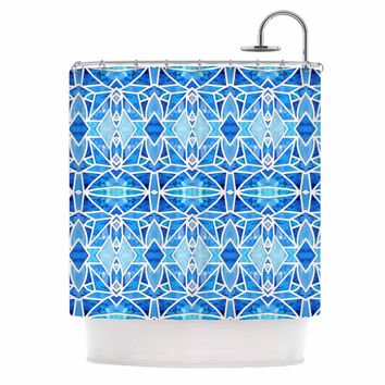 "Art Love Passion ""Blue Diamonds"" Blue Aqua Shower Curtain"