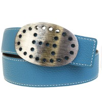 Auth HERMES Evelyn H Buckle Reversible Belt Leather Silver Blue Black 75 61BC079