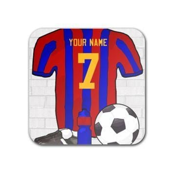 """Red and Blue Football Soccer Jersey 3"""" x 3"""" Square Magnet - Square Customized Magnets"""