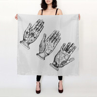 Palm Reading Scarf - Palmistry - Tarot - Occult -  Black and White - Graphic Scarf - Silk Scarf