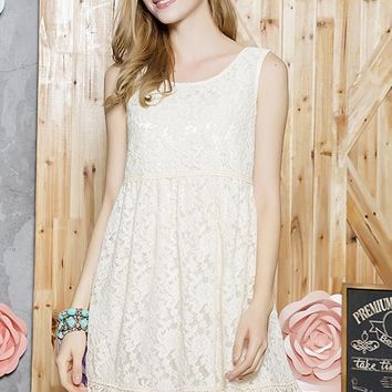 Lace Tunic Dress - Beige