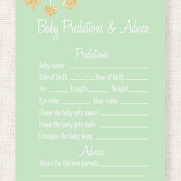 Baby Prediction and Advice Baby Shower Printable Card Mint and Gold  Baby Shower Game DIY Instant download