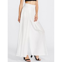 Women's White Pleated Detail Palazzo Pants