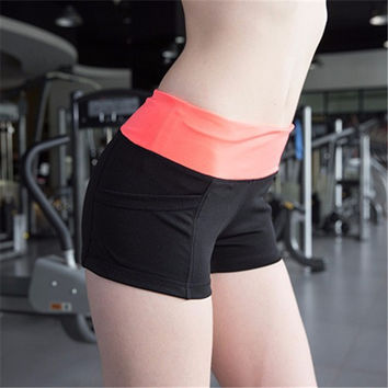 Elastic Stretch Shorts with Pockets