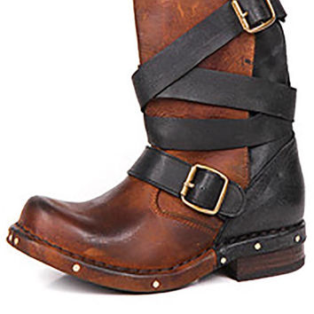 Jeffrey Campbell Rouges Buckle Wrap Short Distressed Two Tone Boots