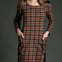 Plaid Long Sleeve Side Pockets Shift Dress