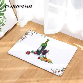 Comwarm Christmas Minimalism Anti-Slip 40*60cm Carpet Heart Wreath Cakes Wine Flowers Door Mat For Kitchen Bedroom Home Textile