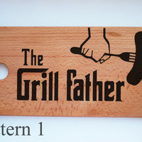 The GrillFather Personalized Cutting Board Engraved Wood Anniversary board Fathers Day Gift for him Gift for dad wood burning for Husband