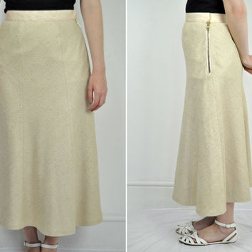 Vintage womens CHLOE SILK mastic cream flared skirt Midi 6 8 Boucle gold zip designer A line