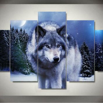 Wall Art  Wolf in Winter Printed Painting Children's Room Decor Print Poster Wall Picture Canvas Poster Unframed 5 Pieces/set