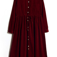 ROMWE | ROMWE Self-tied Buttoned Doll Collar Red Maxi Dress, The Latest Street Fashion