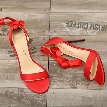 Fashionable hollow Satin sandals, round-headed, slim-heeled, open-toed sandals, bow-tied women's shoes