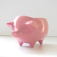 Ceramic Pig Planter Vintage Design in Bubble Gum Pink Succulent Planter Retro Sponge Holder Home Decor
