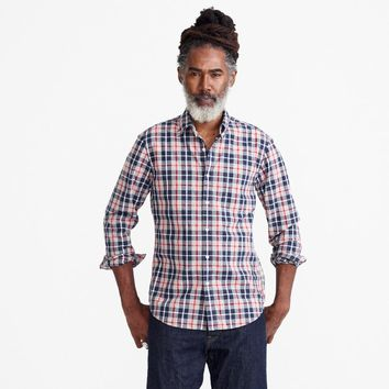 Slim Secret Wash shirt in heather poplin grey and red plaid
