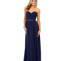 Preorder -  Navy Chiffon Strapless Sweetheart Corset Long Gown