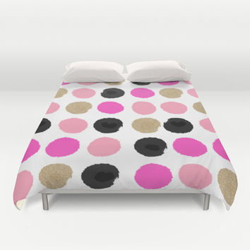 Finley - Abstract colorful brushstroke dots in gold and pinks Duvet Cover by CharlotteWinter