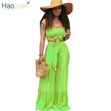 HAOYUAN 2 Piece Set Women Crop Top and Pant Summer Rave Festival Clothing Sexy Two Piece Club Outfits Plus Size Matching Sets