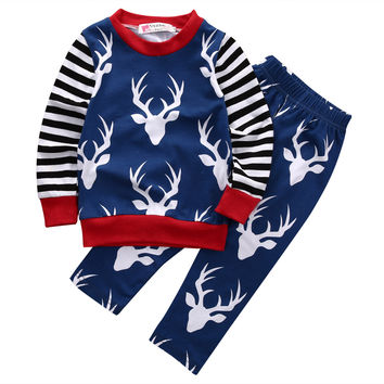 2016 new autumn baby Boys clothes cotton long sleeve Deer t-shirt+pants kids 2pcs suit baby boy clothing sets infant clothing