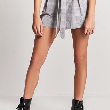 Plaid Paperbag-Waist Shorts