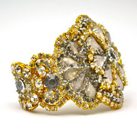 Victorian Squash Blossom Cuff Aged Crystal with by DolorisPetunia