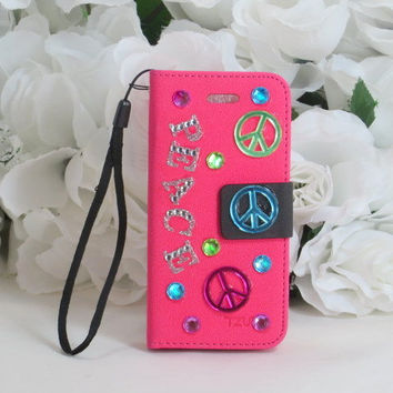 Phone Wallet - Iphone 5 Case - Smartphone Case - Cell Phone Case - Peace Signs Accessories - Wallet - Peace Sign Gifts - Birthday Gifts