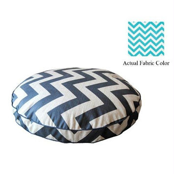 Medium Dog Bed - Aqua And White Chevron