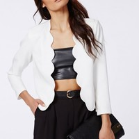 Missguided - Laurie Scallop Cropped Blazer White