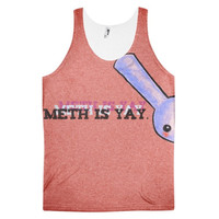 METH IS YAY Crystal Methamphetamine Speed Crank Tweek Uppers Chalk Christina Tina Go Fast Dye Sublimation All Over Print 3D Full Print Cotton Polyester Unisex Novelty Tank Top