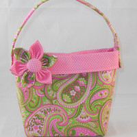 Pink and Green Paisley Little Girls' Purse With Detachable Fabric Flower Pin