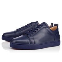 Best Online Sale Christian Louboutin Cl Louis Junior Men's Flat China Blue Leather 13s Shoes 1130548u244