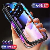 Metal Tempered Glass Back Magnet Cases for iPhone XR XS MAX X 8 7 6 6S Plus
