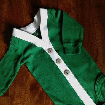12-Month Baby Cardigan One Piece Bow Tie Set, Green Infant Cardigan with Chevron Clip on Bow Tie, Cardigan Bodysuit