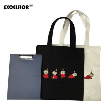EXCELSIOR Cartoon Moomin Canvas Zipper Tote Female Casual Beach Bags Large Women Shopping Bag Daily Handbags Crossbody Bolsas