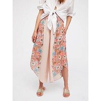 Summer Women Casual Multicolor Flower Print Irregular Chiffon Wide Leg Pants Leisure Pants Trousers